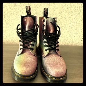 Dr. Martens colorful glitter boots.